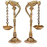 Artvarko Brass Metal Parrot Chain Hanging Diya Pair Design Traditional Deepak for Puja Diwali Lights Pooja Home Decor Mandir Gift Holder Gold 7 Inches