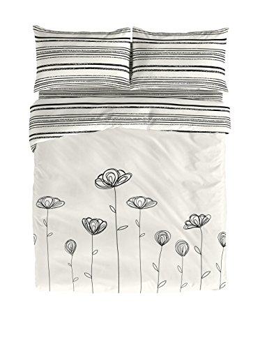 Victorio & Lucchino Tulipan - Set Copripiumino Cama 135 (220 x 220 cm + 45 x 155 cm) Crudo/Negro