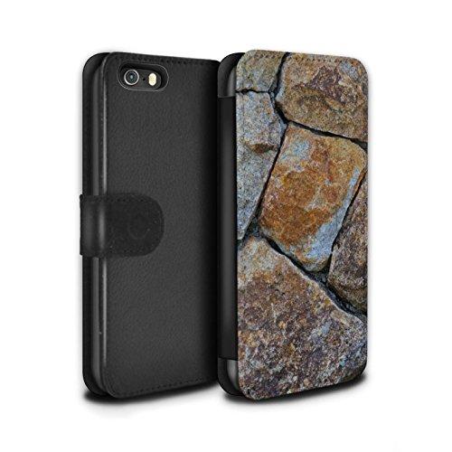 STUFF4 PU-Leder Hülle/Case/Tasche/Cover für Apple iPhone 5/5S / Kieselsteine Muster / Stein/Rock Kollektion Medium Steinmauer