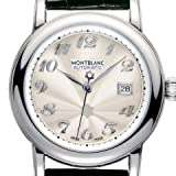 Montblanc Star Automatic Silver Guilloche Black Leather Ladies Watch 38026
