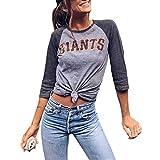 Gfsoediden Giants Letters Printed Raglan T-Shirts Frauen 3/4 Ärmel Oansatz Baseball Tee (Farbe : Gray, Größe : XL)