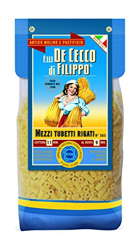 De Cecco GOURMET LINE - Pasta MEZZI TUBETTI RIGATI - Special Cardboard Pack - 500g Pack of 4 (500g x 4)