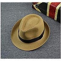 FOUGNOGKISSS Sombrero de Paja de Color sólido para niños Sombrero de Jugador de Bolos Sombrero Respirable de protección Solar para 2-7 años (Negro) (Color : Khaki, tamaño : 49-53cm)
