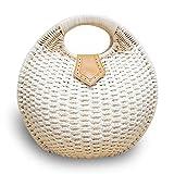 Rattan Tasche Damen Korbtaschen Strandtasche Handarbeit Sommer Beige 28*27CM