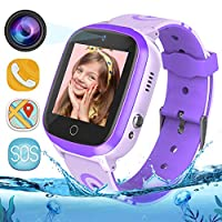 GPS Kids Smart Watch Phone - WiFi + GPS + LBS Tracker Smartwatch with Step Counter Gao Fence Calling SOS Voice Chat Camera Game for Boys Girls Age 3-12 (Purple)