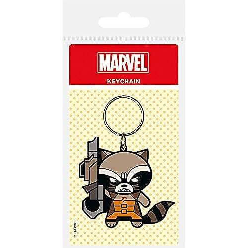 juguetes kawaii Pirámide Internacional - Marvel Comics Llavero de goma de Kawaii Rocket mapache 6 Cm