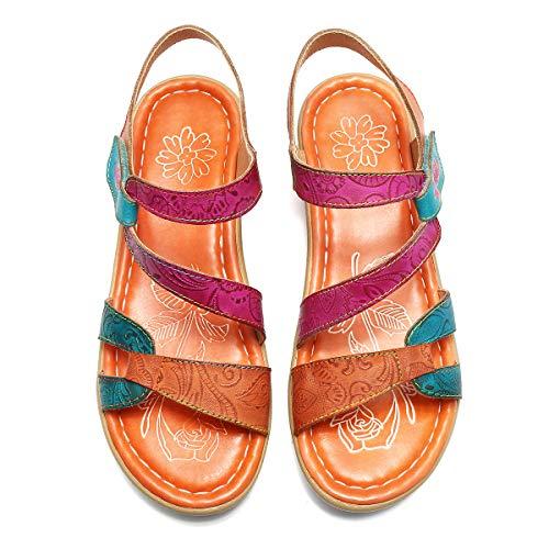 Gracosy Sandalias Cuero Planas Verano Mujer Estilo Bohemia Zapatos para Mujer de Dedo Sandalias Talla...