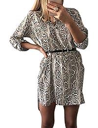 ecmqs vestido de mujer – primavera retrousser mango largo (vrac Robe –  Camisa de cuello en V leopardo de piel… bdf3d74b7b1