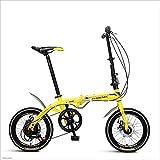 MuMa Fahrrad, Stahl Mit Hohem Kohlenstoffgehalt 16 Zoll 6-Gang-Speichenrad Kann Gefaltet Werden Erwachsene Männlich Weiblich Ultraleicht Stoßdämpfung (Farbe : Gelb)