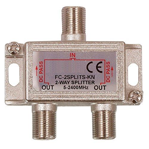 Digitaler 2-fach SAT Antennen Kabel TV BK Verteiler Splitter HDTV 2fach F Verteiler Fernsehen Fernseher Full HD Switch 2er zweier Weiche Umschalter F-Stecker Stammleitungsverteiler