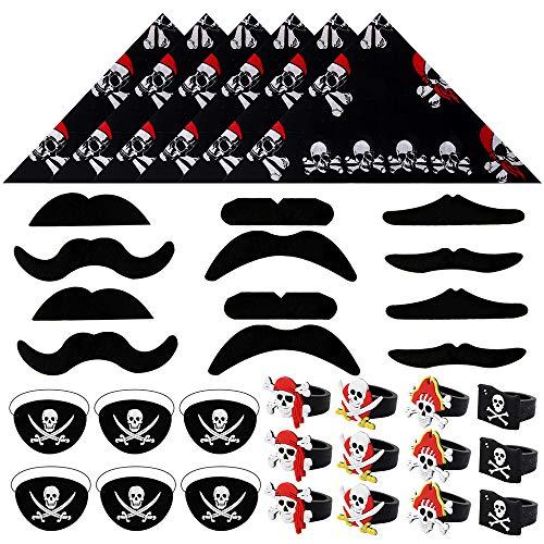 Kostüm Piraten Set - BAKHK 36 Stück Piraten Zubehör Set Kostüm Set Piraten Augenklappe Piraten Kopftuch Bandana Gefälschter Schnurrbart Ring für Halloween Partys Karneval Weihnachten Kindergeburtstag