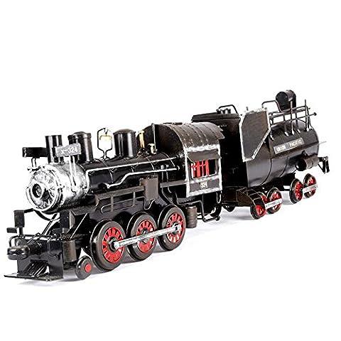 Ancaixin Vintage Removable Steam Locomotive Handmade Iron Crafts Home Art Decoration, Black