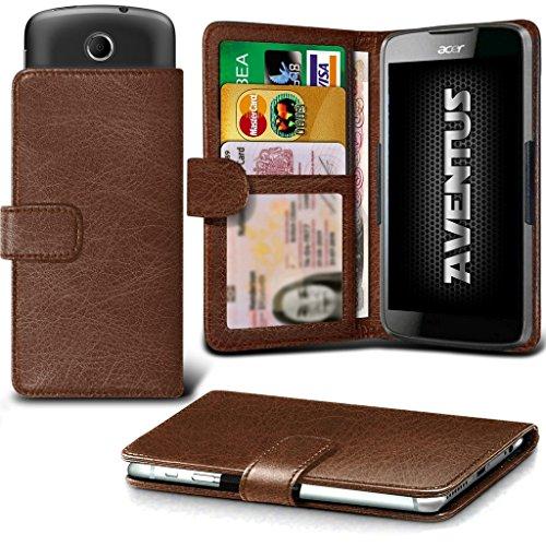 Aventus (Brown) Acer Liquid Z320 Premium-PU-Leder Universal Hülle Spring Clamp-Mappen-Kasten mit Kamera Slide, Karten-Slot-Halter & Banknoten Taschen