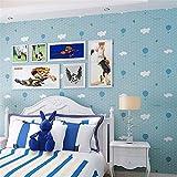 Pmrioe Rosa Weiße Wolken Ballons Punkte Cartoon Jungen Mädchen Kinder Schlafzimmer Tapetenrollen 3D Vlies Tapeten Wohnkultur Moderne, B