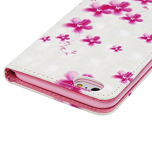 Badalink Hülle für iPhone 6 Plus/6s Plus 3D Gemalt Schwarz Muster Handyhülle Leder PU Cover Magnet Flip Case Schutzhülle Kartensteckplätzen Ständer Handytasche mit Eingabestifte und Staubschutz Stecke Rosa Blumen