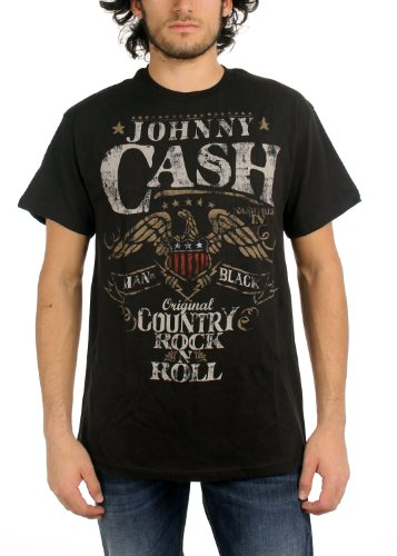Johnny Cash - Rock N Roll Erwachsene T-Shirt in Schwarz Black