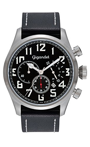 Gigandet Quarz Herren-Armbanduhr Interceptor Chronograph Uhr Datum Analog Lederarmband Schwarz Silber G4-001