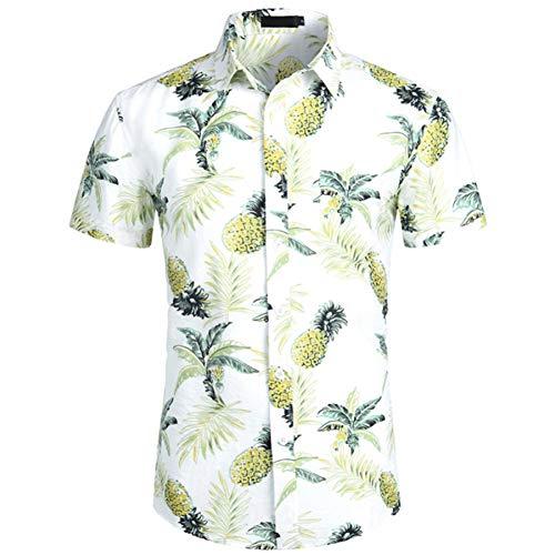 PARKLEES Navy Blau Ananas Hawaiian ShirtSommer Herren Kurzarm Kleid Shirts Tropical Floral Hawaii Hemd Männlich Camisa Sozialen -