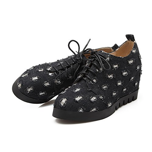 AllhqFashion Damen Schnüren Rund Zehe Hoher Absatz Nubukleder Gemischte Farbe Pumps Schuhe Schwarz