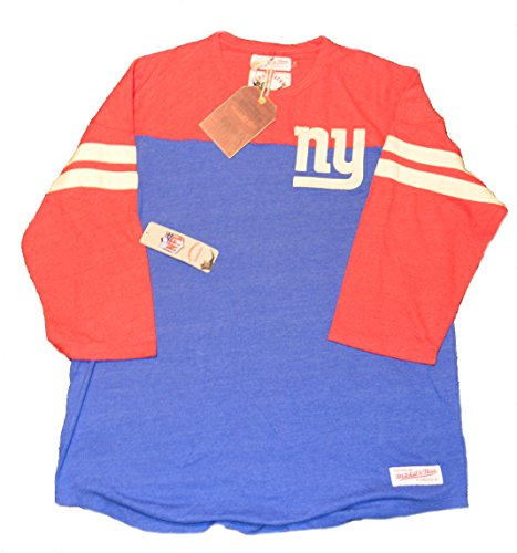 Mitchell & Ness Start of Season Henley 3/4 Sleeve T-Shirt, NFL Herren Throwback T-Shirt, New York Giants, XX-Large -