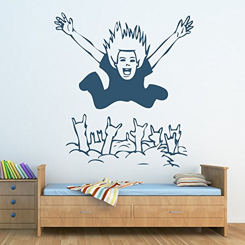 Folla Surfer Wall Sticker decorativi Adesivo Art disponibile in 5 dimensioni e 25 colori Extra Grande Bianco