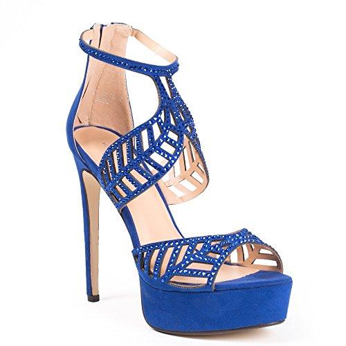 Ideal Shoes Escarpins à Brides Ajourées et strassées Fabiola Bleu