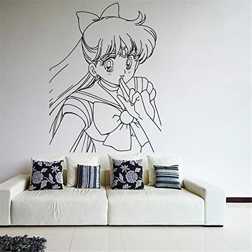 ljradj Cartoon Dekoration Wand Vinyl Aufkleber Applikation Anime Mani Sailor Mädchen Mädchen Kindergarten Kinderzimmer Wandaufkleber 78 x 58 cm