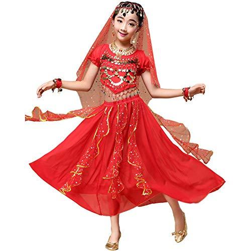 YARUDRESS Mädchen Bauchtanz Pailletten Indian Princess Dance Rock 6 Teile/Satz Kostüm Halloween Tragen Karneval Tanzen Kleid Sets, Liuyi Dance Performances,Red,XS (Indian Princess Kostüm Kind)