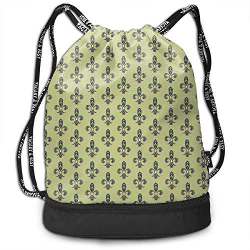 Kordelzug Taschen Sporttasche Color Lily Mardi Gras Classic Drawstring Bags Bundle Backpack School String Rucksack Cinch Bag Lightweight Sackpack Unisex Gym Sports Yoga Climbing for Women Man