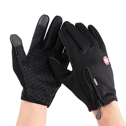 1 paio di guanti da moto full touch con touch screen, guanti da sci invernali impermeabili e antivento(XL-Black)
