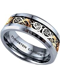 d3e8d2ad00a5 Mens Ring - Celtic Dragon Inlay TUNGSTEN Carbide Comfort Fit Wedding  Engagement Jewelry Band Ring