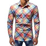 Herren Weihnachten Shirts,❤️Binggong Herren Bedruckte Bluse Lässige Langarm Slim Shirts Tops