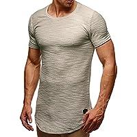 Yvelands Tops Casual para Hombre Camiseta de Manga Larga con Cuello en V y Rayas Camiseta de Manga Corta Muscular en Color Sólido Camiseta de Blusa Sport Top Daily, Cheap Liquor!