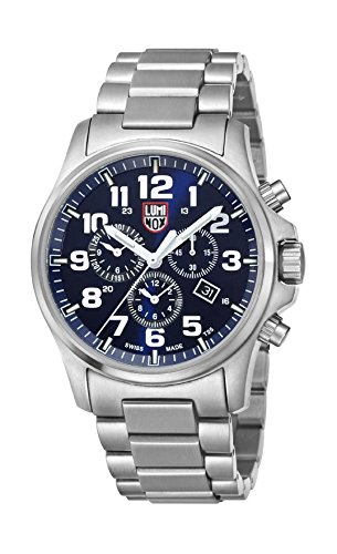Luminox Men's Atacama Field Chronograph Alarm 45mm Steel Bracelet & Case Quartz Blue Dial Watch 1944M