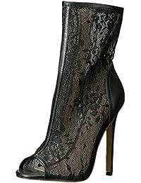Fabulicious Pleaser Sexy-1008 High Heels Fetisch Peeptoe Stiefeletten  Spitze Schwarz 35-45 Übergrösse c1607bc1fa