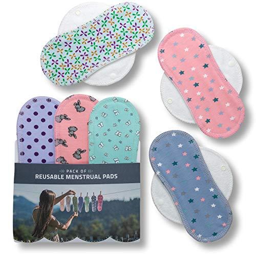 Waschbare Stoffbinden, 6er Pack (Größe: S+M) Baumwolle Wiederverwendbare Binden mit Flügeln; MADE IN EU; Damenbinden für Menstruation, Inkontinenz; Stoffbinden aus Baumwolle ohne Chemikalien