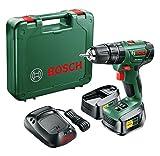 Bosch Taladro atornillador de percusión con batería PSB 1800 LI-2 (2 baterías, cargador, punta de atornillar, maletín, Sistema 18V)