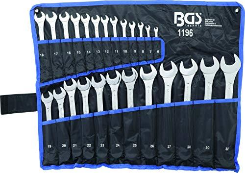 BGS 1196 , Maul-Ringschlüssel-Satz , SW 6 - 32 mm , 25-tlg. , inkl. Tetron-Rolltasche