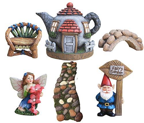 La Jolíe Muse Gartenfigur Deko 6er Set, Feen Garten mit Zwerg handbemalte Figuren