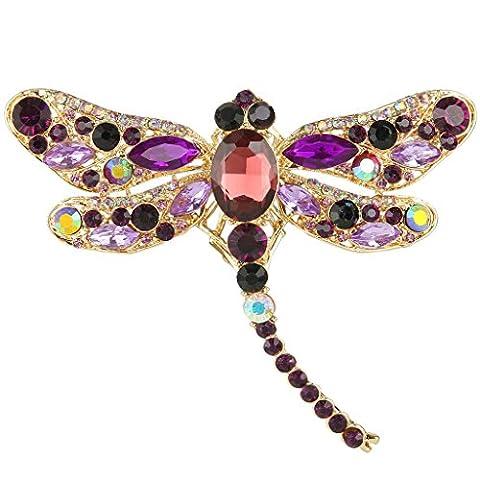 EVER FAITH® Gold-Ton Libelle Tropfen Pendant Brosche lila österreichische Kristall A11932-11