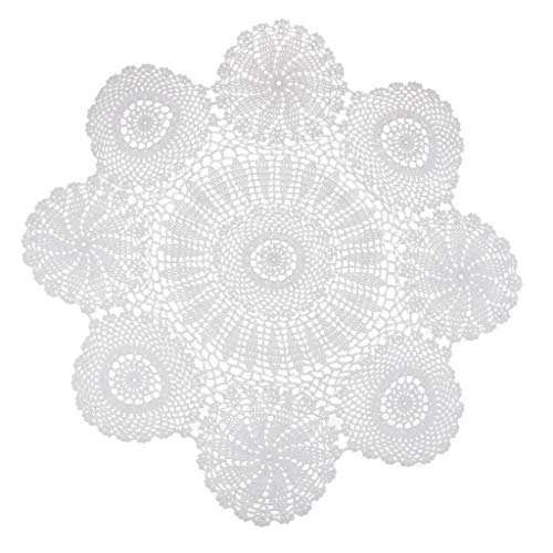 non-brand Sharplace Handarbeit Häkeln Weiß Crochet Deckchen Hohl Tischdecke Baumwolle Spitze Tisch Tischsets mit Blumen Muster