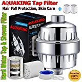 AquaKing Hard Water Shower Filter for Bathroom-Fits on Shower Heads Also Cleans Chlorine (Chrome)