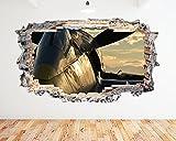 N363Vintage Flugzeug Cockpit Sunset zerstörten Wand Aufkleber 3D Kunst Aufkleber Vinyl Zimmer (Riesige (100x 175cm))