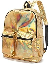 CYBERNOVA Mochila de cuero de la PU de la manera mochila holográfica Bling Glitter Daypack casual, bolso del ordenador portátil, bolsos de hombro Bolsos de escuela bolso