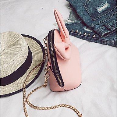 SUNNY KEY-Borsa a tracolla @ Donna Borsa a tracolla PU (Poliuretano) Per tutte le stagioni Casual Rotondi Cerniera Bianco Nero Rosa , black blushing pink