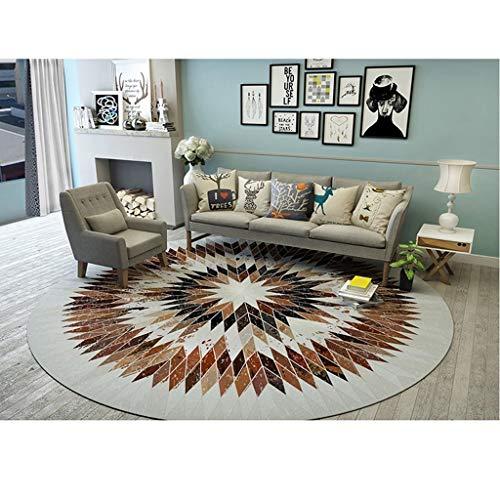 Teppich, gewebt, rund, multifunktional, Couchtisch, geometrisch, braun, Abdeckung (Durchmesser 150 cm), Leder, beige, 200 cm