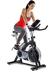 Sportstech Vélo d'appartement ergomètre SX200 avec commande par application Smartphone + Google Street View, poids d'inertie 22 KG, supports pour bras, cardiofréquencemètre, silencieux, 125 kg max.