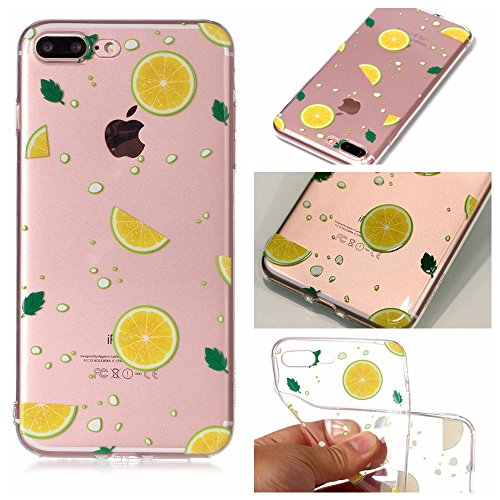 iPhone 7 Plus 8 Plus Custodia, SportFun Slim Flexible TPU Custodia Protettiva in silicone per iPhone 8 Plus 7 Plus Case gufo Crisantemo cavallo (Hirsch) limone
