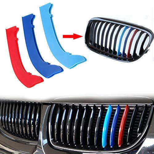 M-Couleur Avant Grille Garniture Kidney Clip Couverture Grill Autocollants pour 3 Series E46 316 318 320 325 328 330 323 Sedan and Touring 1998-2001 3 Pi/èces 10 Grilles