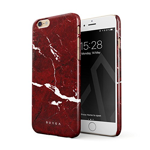 BURGA Hülle Kompatibel mit iPhone 6 Plus / 6s Plus Handy Huelle Iconic Rubin Rot Marmor Muster Ruby Red Marble Mädchen Dünn, Robuste Rückschale aus Kunststoff Handyhülle Schutz Case Cover Ruby Red Handy